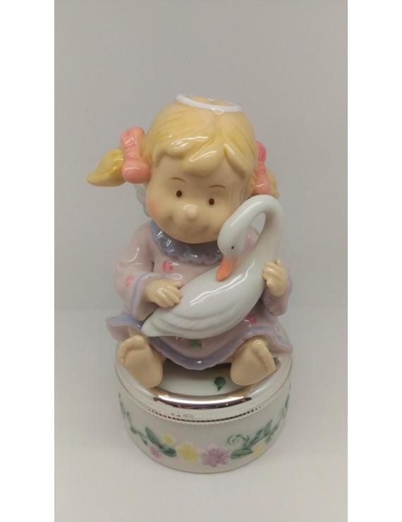 Carillon bimba con cigno carillon ceramica carillon bambina - Carillon portagioie bambina ...